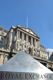 Royal exchange pyramid against the Bank of England Central Bank Headquarters faced Stock Image