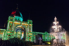 Royal Exhibition Buildings during White Night. Illumination of the Royal Exhibition Buildings in the Carlton Gardens, Melbourne, Australia, during the White Royalty Free Stock Images