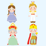 Royal Family. Set of four cute royal family characters Royalty Free Stock Image