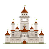 Royal family castle with guard walls, main palace. Royal family residence symbol of grey stone castle with guard walls and main palace with towers, arched Stock Photo