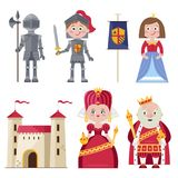 Royal family and chivalry in infographic set. Graphic set of royal family with princess and knight wearing armour composed on white with kingdom castle Stock Photo
