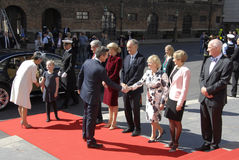 ROYAL FAMILY GREETS BY PRIME MINISTER OF DENMARK Royalty Free Stock Photography