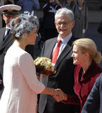 ROYAL FAMILY GREETS BY PRIME MINISTER OF DENMARK Royalty Free Stock Photo