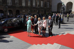ROYAL FAMILY GREETS BY PRIME MINISTER OF DENMARK Stock Photography