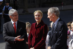 ROYAL FAMILY GREETS BY PRIME MINISTER OF DENMARK Stock Images