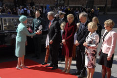 ROYAL FAMILY GREETS BY PRIME MINISTER OF DENMARK Royalty Free Stock Images