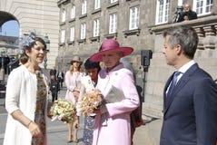 ROYAL FAMILY GREETS BY PRIME MINISTER OF DENMARK. COPENAHGEN /DENAMRK 05 June  2015_   Denmark celebration 100 years women voting rights constitution day her Royalty Free Stock Photos