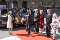 ROYAL FAMILY GREETS BY PRIME MINISTER OF DENMARK. COPENAHGEN /DENAMRK 05 June  2015_   Denmark celebration 100 years women voting rights constitution day her Royalty Free Stock Image