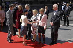 ROYAL FAMILY GREETS BY PRIME MINISTER OF DENMARK. COPENAHGEN /DENAMRK 05 June  2015_   Denmark celebration 100 years women voting rights constitution day her Royalty Free Stock Photography