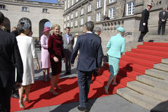 ROYAL FAMILY GREETS BY PRIME MINISTER OF DENMARK Royalty Free Stock Image