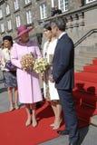 ROYAL FAMILY GREETS BY PRIME MINISTER OF DENMARK. COPENAHGEN /DENAMRK 05 June  2015_   Denmark celebration 100 years women voting rights constitution day her Royalty Free Stock Images