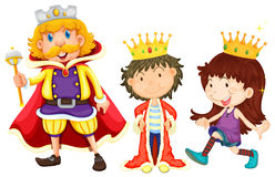 Royal family. Illustration of a king, a prince, and a princess Stock Photo