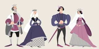 The royal family. Middle ages. Funny cartoon characters in historical costumes. Isolated king, queen, prince and princess royalty free illustration