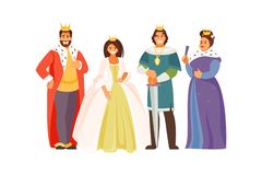 Royal family vector. Fabulous Royal family. Vector characters in historical costumes. King, Queen, Prince and Princess on white background royalty free illustration