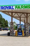 Royal Farms Convenience Store Pumps. Wrightsville, PA, USA - June 7, 2018: The fuel pumps at a Royal Farms, an American chain of convenience stores with over 180 Royalty Free Stock Photo