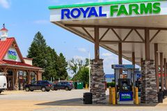 Royal Farms Store Fuel Pumps. Wrightsville, PA, USA - June 7, 2018: The fuel pumps at a Royal Farms, an American chain of convenience stores with over 180 Stock Photo