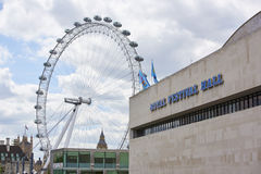 Royal Festival Hall with London Eye Stock Photo