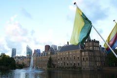 Royal Flags at the Dutch Parliament Royalty Free Stock Photos