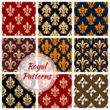 Royal fleur-de-lis floral heraldic flowery pattern Royalty Free Stock Images