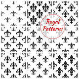 Royal fleur-de-lis floral seamless patterns. Royal fleur-de-lis seamless patterns with set of floral background with black and white french heraldic lily flowers stock illustration