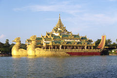 The Royal Floating Barge, Karaweik Lake Yangon, Burma Royalty Free Stock Images