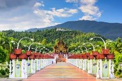 Royal Flora Park. CHIANG MAI, THAILAND - OCTOBER 15, 2015: Walkway to the Pavilion of Royal Flora Ratchaphruek Park Royalty Free Stock Photo