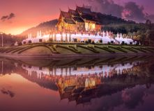 Royal Flora Ratchaphruek Park at sunset Chiang Mai. Royal Flora Ratchaphruek Park and pavilion during purple sunset in Chiang Mai, Thailand stock photography