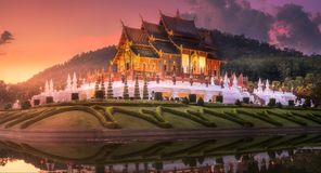 Royal Flora Ratchaphruek Park at sunset Chiang Mai Stock Photography