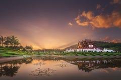 Royal Flora Ratchaphruek Park at sunset Chiang Mai royalty free stock images