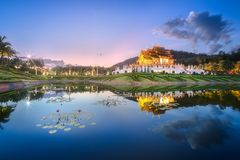 Royal Flora Ratchaphruek Park at sunset Chiang Mai stock photography