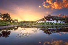 Royal Flora Ratchaphruek Park at sunset Chiang Mai Stock Image