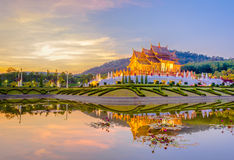 Royal Flora temple (ratchaphreuk)in Chiang Mai,Thailand. Ho kham luang northern thai style building in Royal Flora temple (ratchaphreuk)in Chiang Mai,Thailand Royalty Free Stock Image