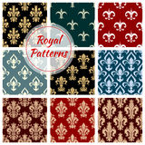 Royal floral seamless patterns set. Royal flowery patterns set. Floral seamless decoration background with ornate flower ornament. Damask decorative luxury tile Royalty Free Stock Photos