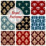 Royal floral seamless patterns set Royalty Free Stock Photos