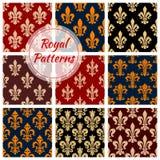 Royal flower fleur-de-lis vector patterns set Stock Photos