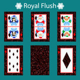Royal flus playing card poker combination. illustration eps 10. On a green background. To use for design, registration, the vector illustration