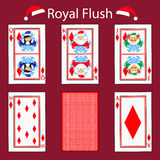 Royal flus playing card poker combination. illustration eps 10. On a red background. To use for design, registration, the w vector illustration