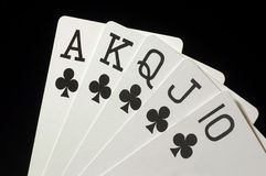 Royal Flush 1. Black Royal Flush with Clubs, on Black royalty free stock image