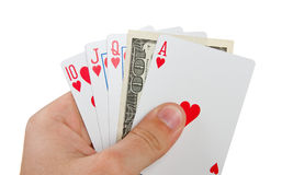 Royal flush with $100 in hand Stock Image