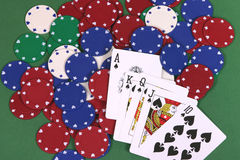 Royal Flush. Cards and chips Stock Images