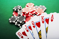Royal flush. The best poker hand, royal flush Stock Photography