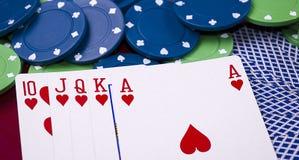Royal flush. Photo of the royal flush and casino chips Royalty Free Stock Photos