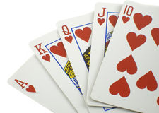 Royal flush. Highest poker hand royalty free stock photography