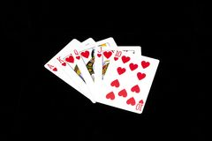 Royal flush. Poker wining set - royal flush - Ace, King, Queen, Jack and 10 royalty free stock photos