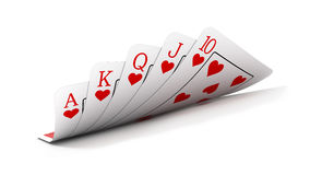 Royal flush. On white background - 3d render Royalty Free Stock Photos