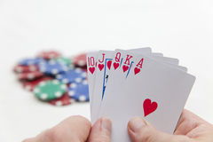 Royal Flush. A poker player holds a roayl flush and will win the pot. Photographed on white stock photography