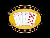 Royal flush. Poker hand in neon sign Stock Photos