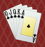 Royal flush. Clubs with background, in the vector Royalty Free Stock Photo