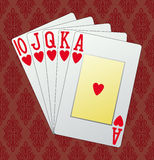 Royal flush. Hearts, in the background and in the Royalty Free Stock Photos