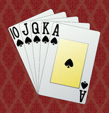 Royal flush. Spades, in the background and in the Royalty Free Stock Photography
